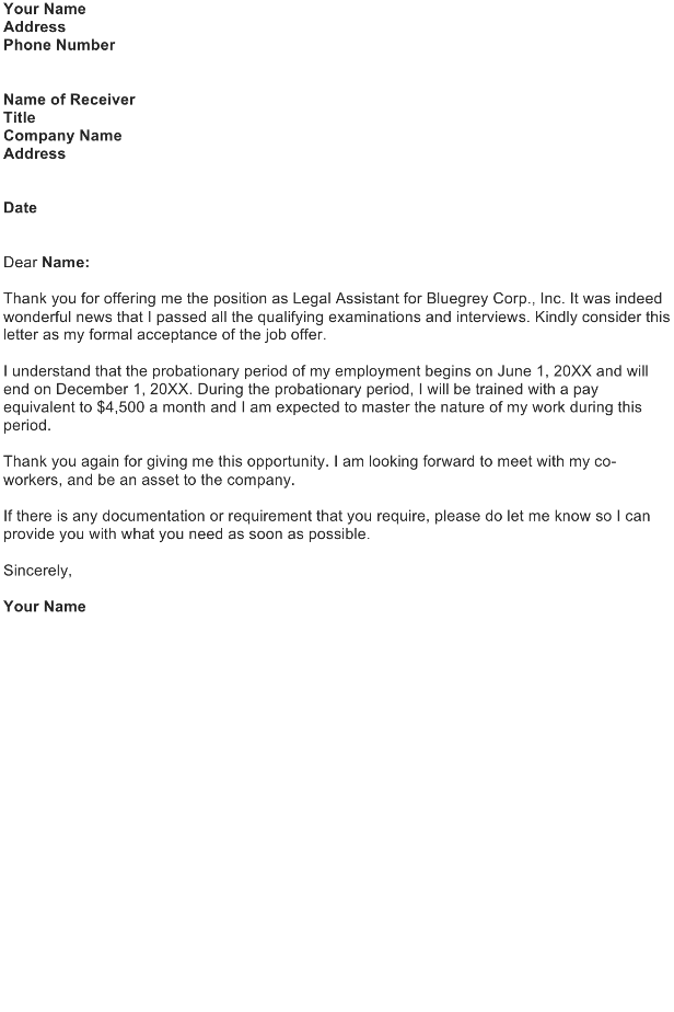 Acceptance Letter of Job Offer