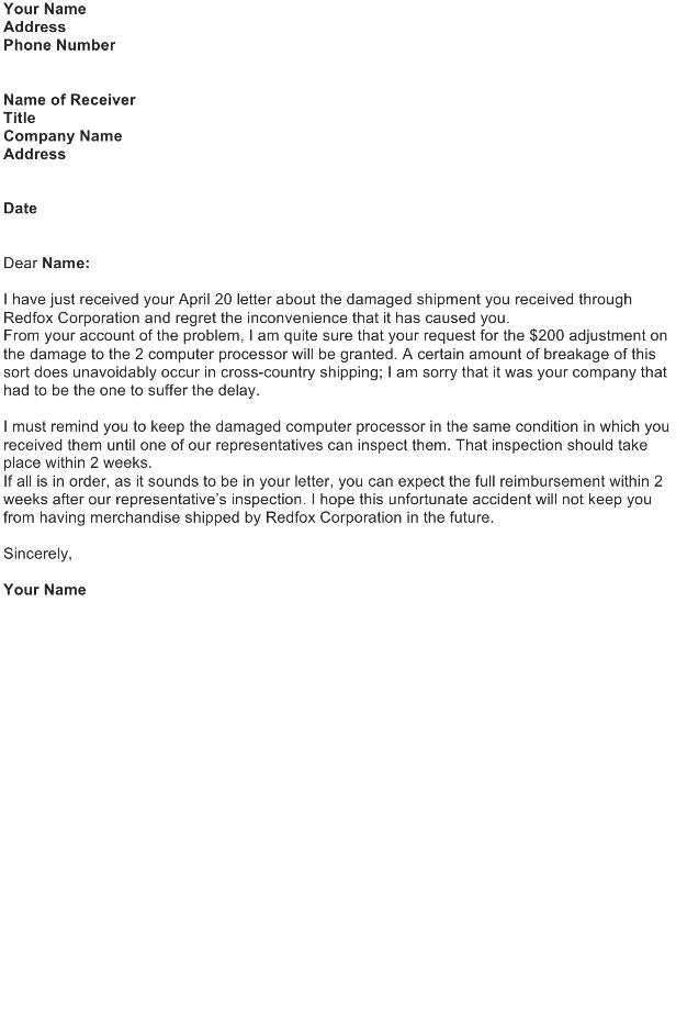 Adjustment Letter – Damaged Shipment