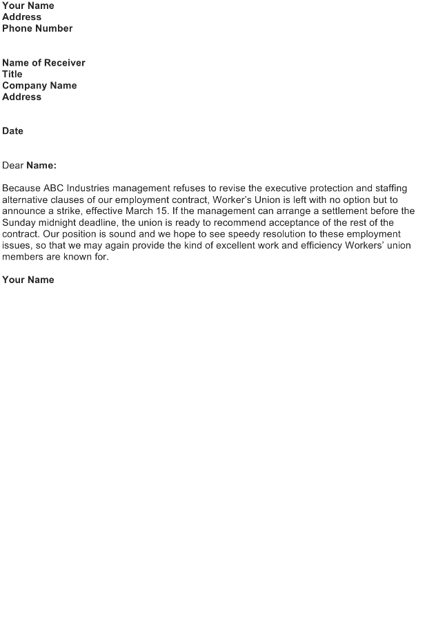 Announce an Imminent Strike (Labor's Announcement)