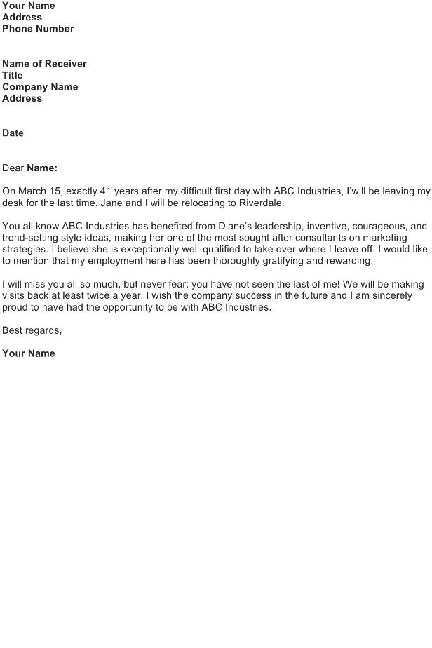 Retirement Announcement Letter Sample – FREE Download