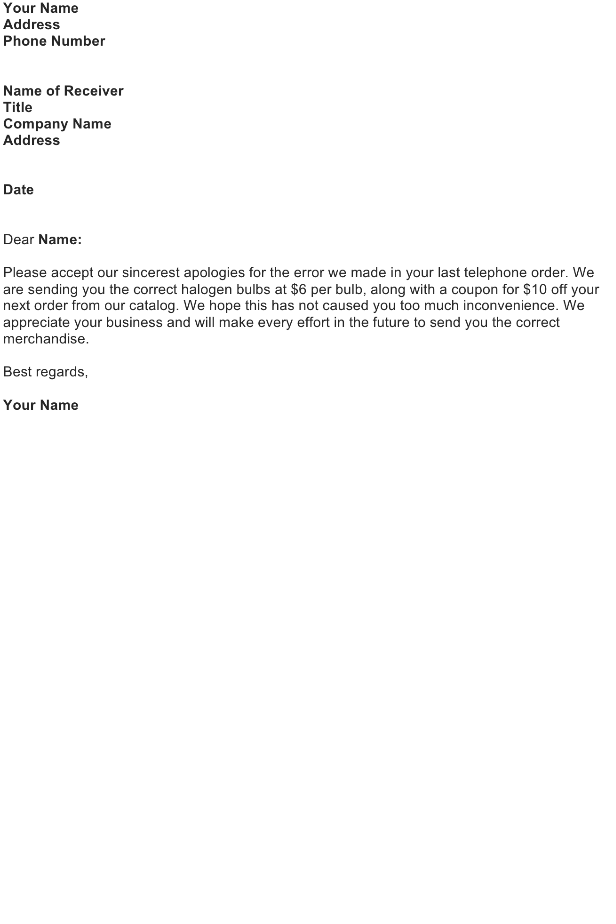 Apologize for a Shipping Error