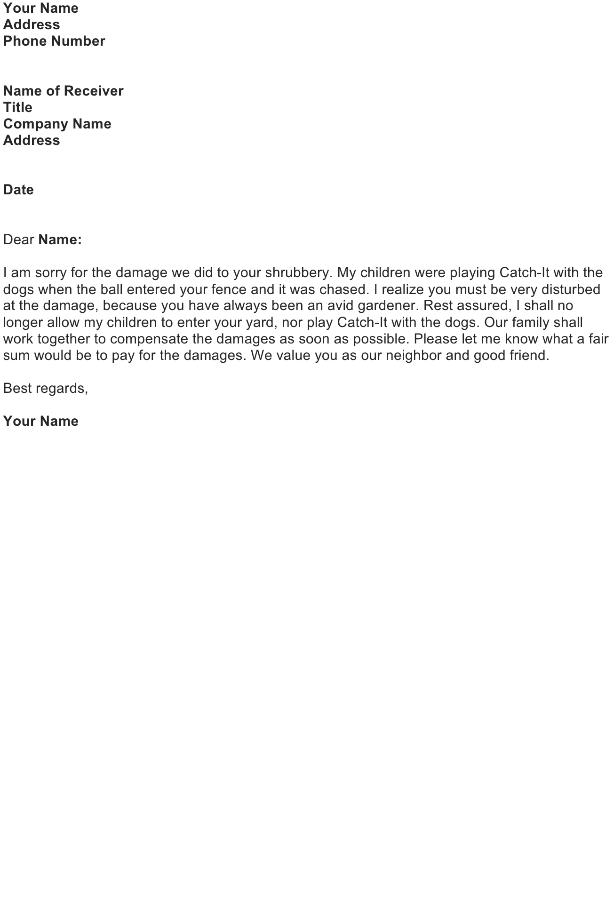 Apologize for Damaged Property