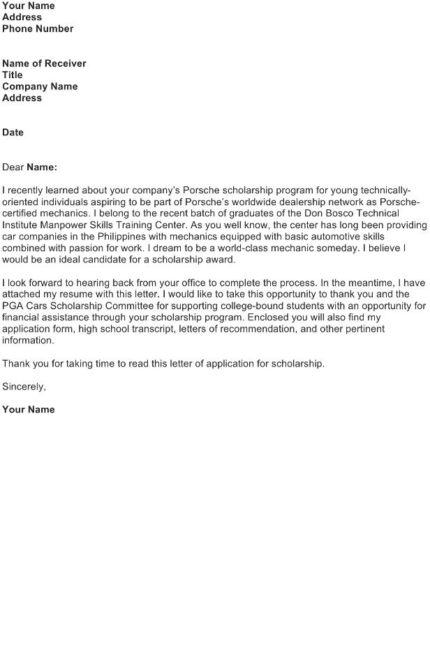 Application for Scholarship Letter
