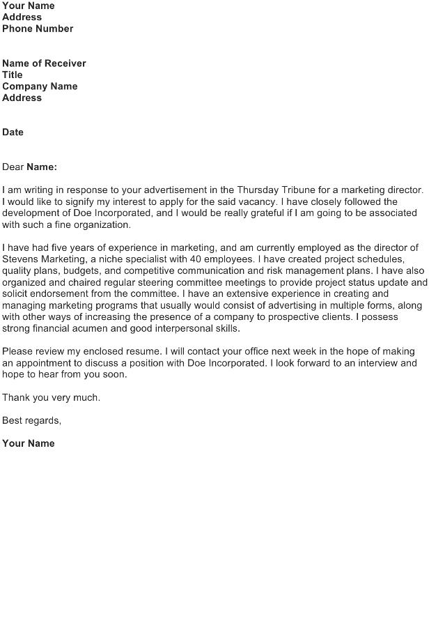Application Letter: Marketing Director