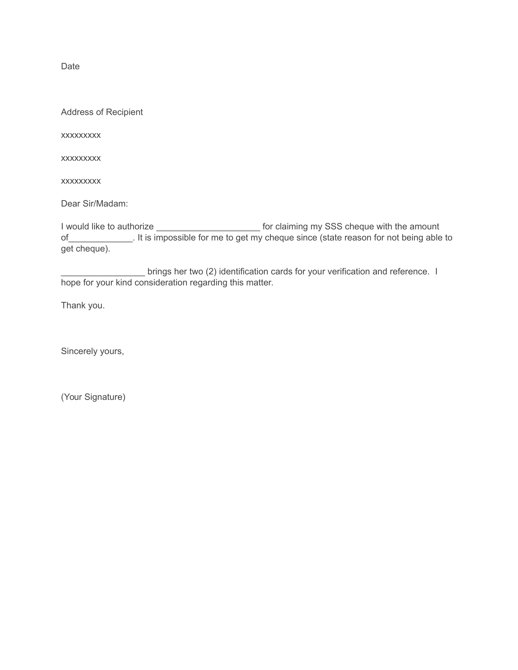 How To Write An Authorization Letter Sss Loan Application Download