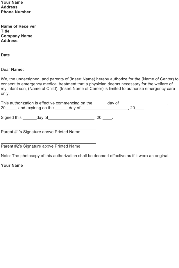 Authorization Letter For Medical Treatment U2013 FREE Download