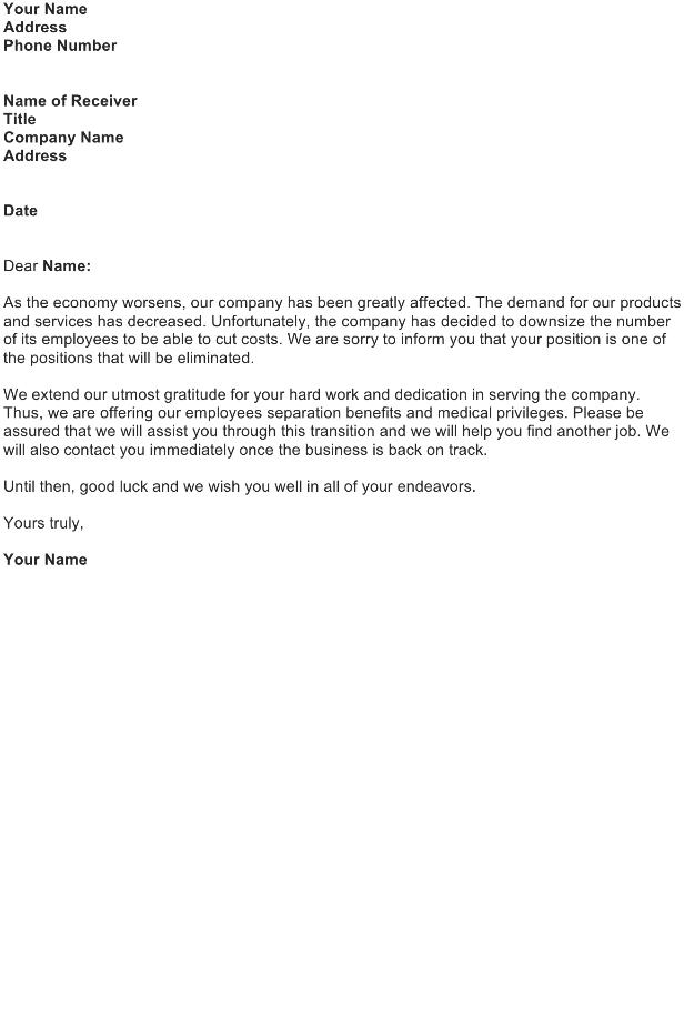 Bad News Announcement Letter