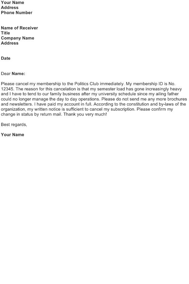 Cancel a Membership on a Club