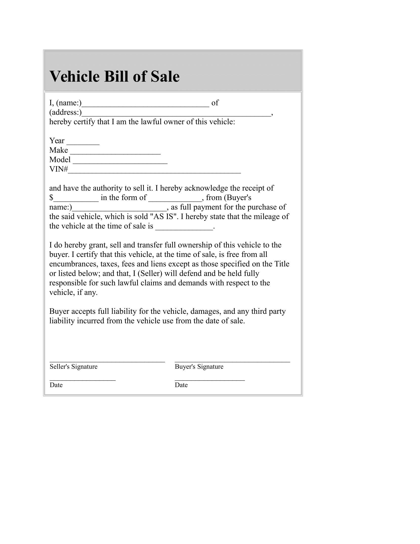 Car Bill of Sale – FREE Template Download in PDF and Word forms