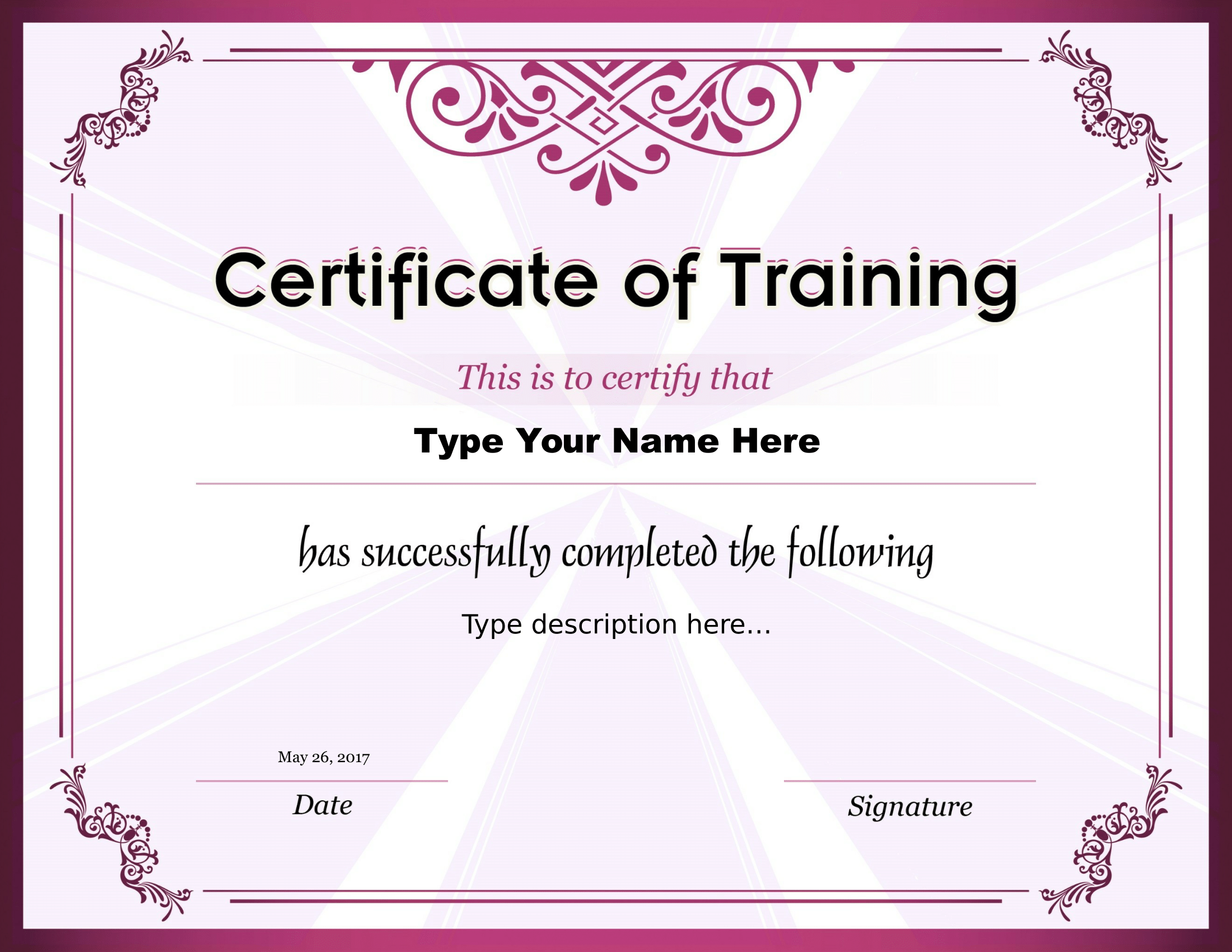 Certificate of Training – FREE Download