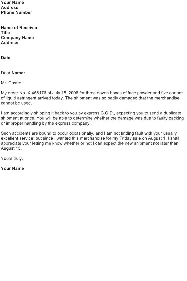Claim Letter – Customer Order
