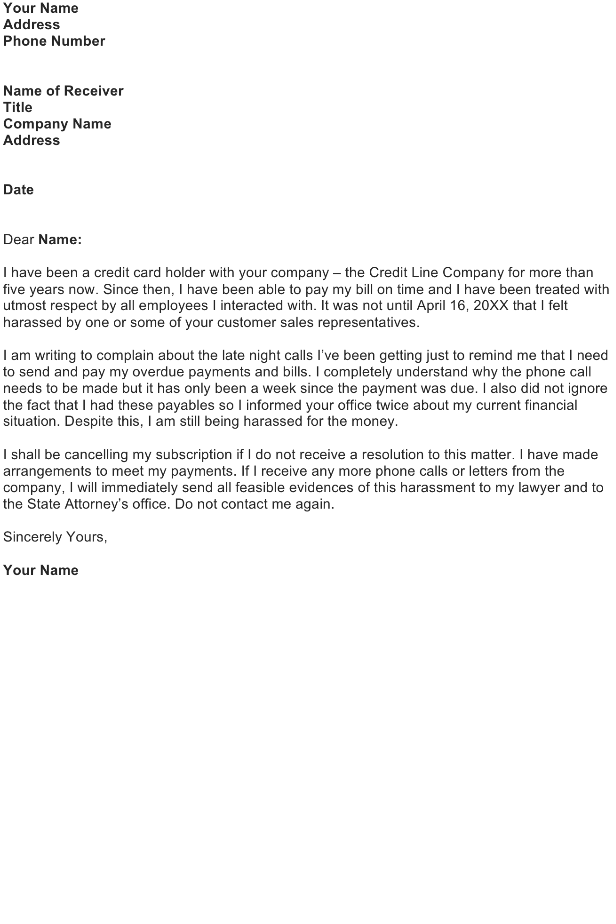 Harrassment Complaint Letter