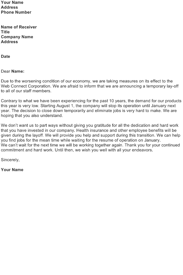 Lay Off Announcement Letter