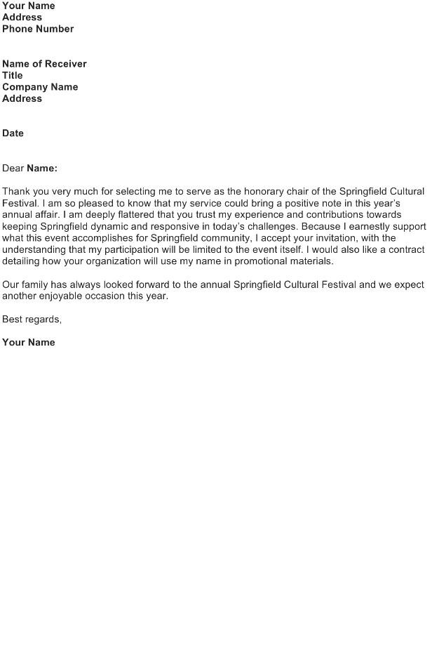 Letter to Accept a Request to Serve in a Honorary Position: Honorary Chair
