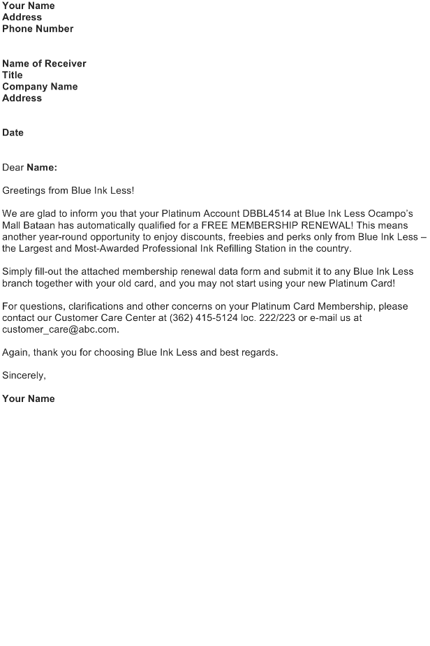 Letter to Customer – Promotion