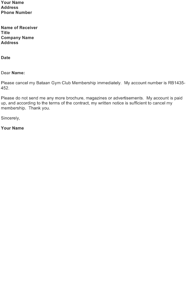 Request Letter – Cancel Membership