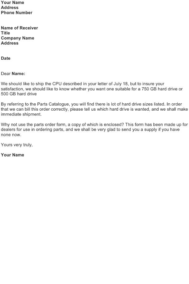 Request Letter – Order Information