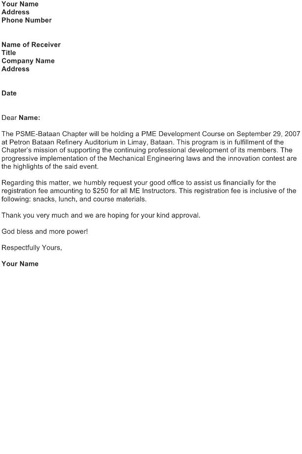 Request Letter – Registration Fee
