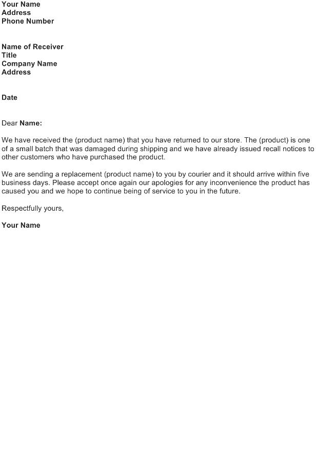 Return Item Acknowledgment Letter