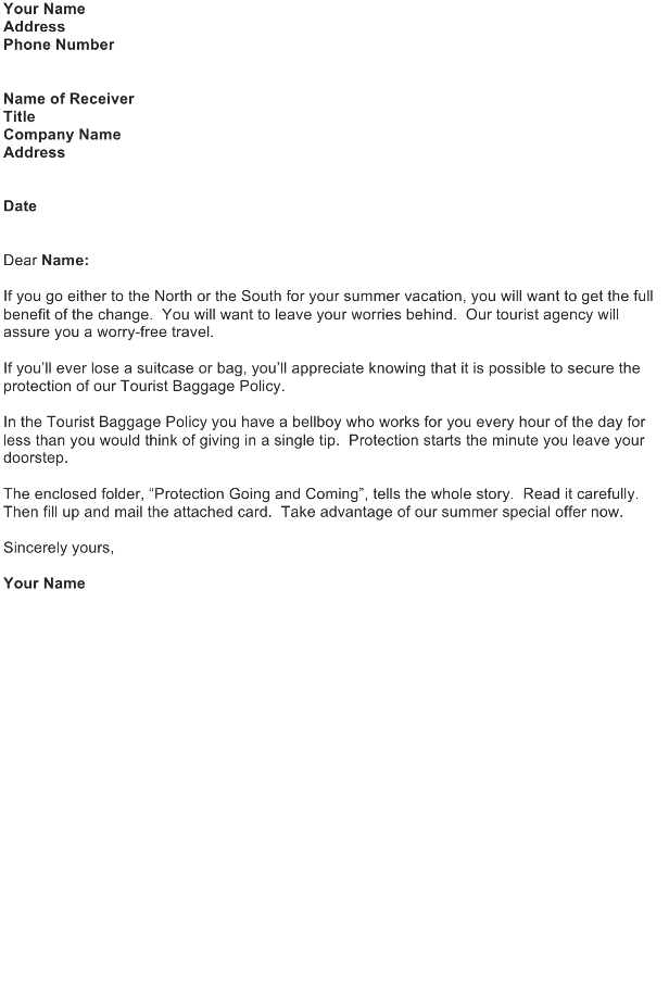 Sales Letter – Tourist Agency