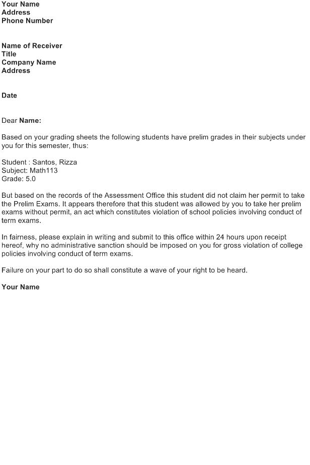 Sample Complaint Letter – Prelim Grades