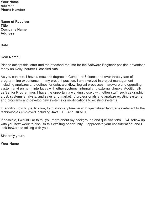 Sample Job Application Letter – Software Engineer