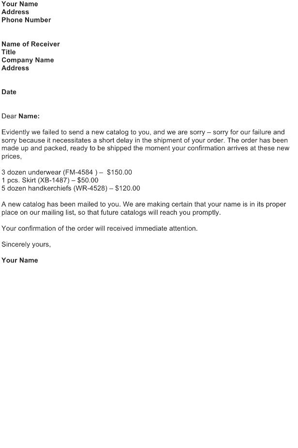 Sample Letter asking for Order Confirmation