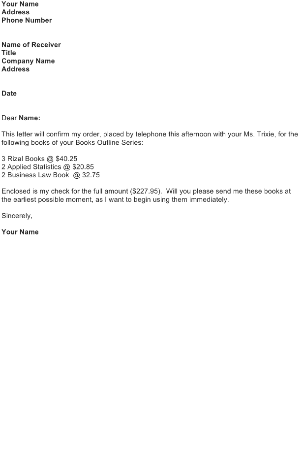 Sample Letter Confirming Orders