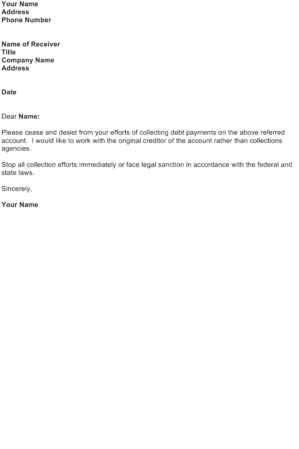 Sample Letter to Stop Contact