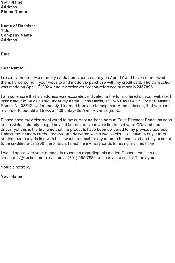 Shipping Error Complaint Letter
