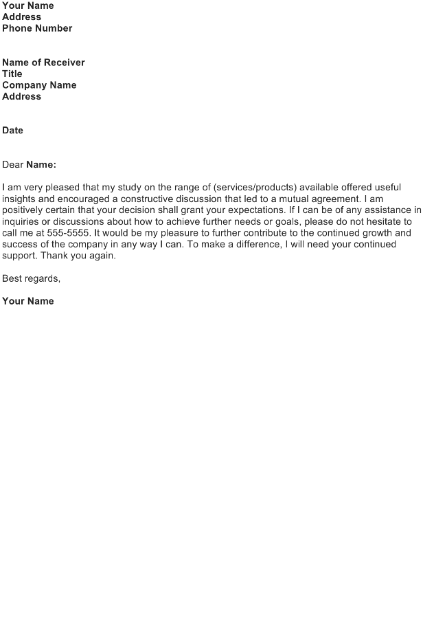 Thank You Letter Sample Download Free Business Letter