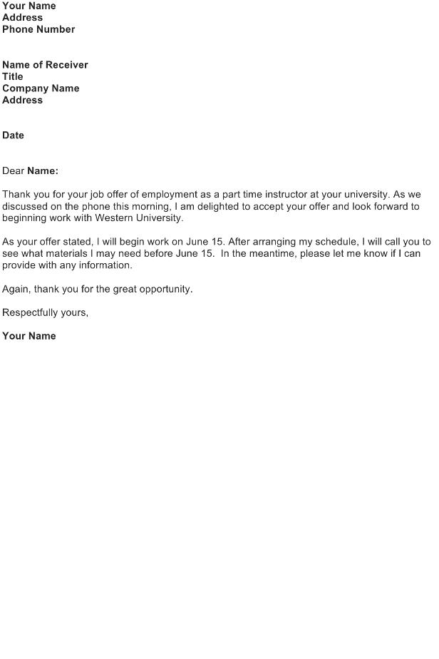 Thank you letter – Job Offer
