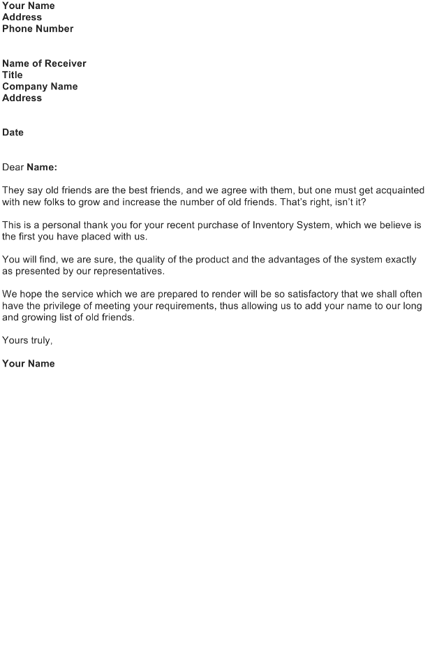 Welcome Letter – New Customer