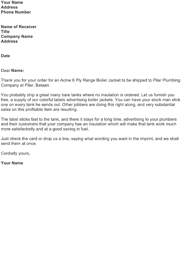 Thank you letter – Customer Order
