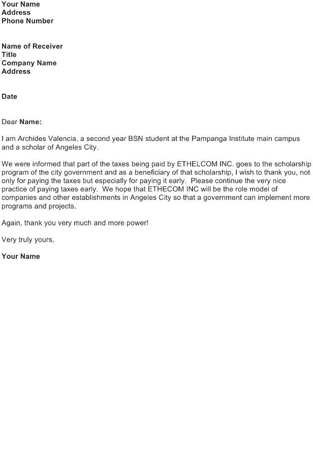 Thank you Letter Sample – Scholarship
