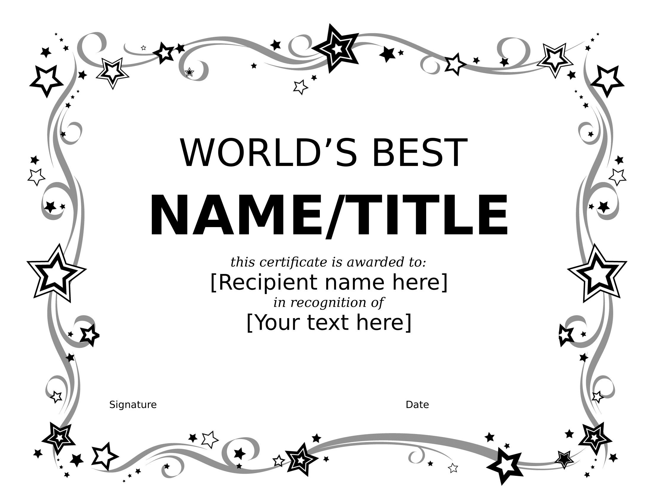 World's Best Certificate – FREE Download Template