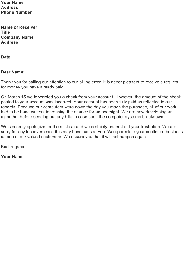 Write a Business Apology