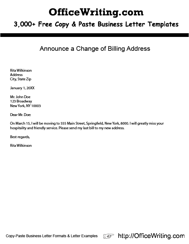Announce a Change in Billing Address
