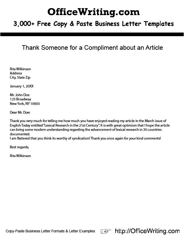 Compliment Letter