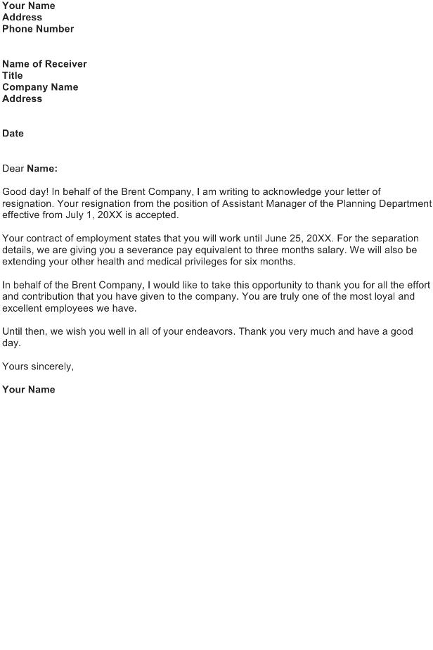 Accept a Resignation Letter