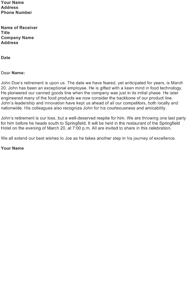 Announce an Exceptional Employee's Retirement Letter