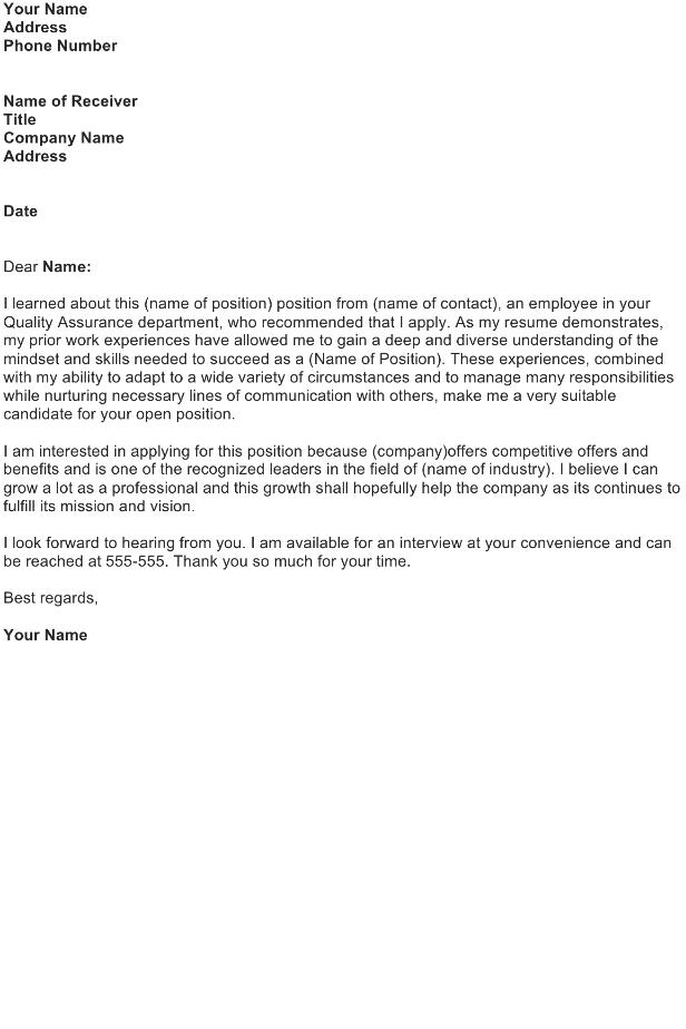 Application Letter: General