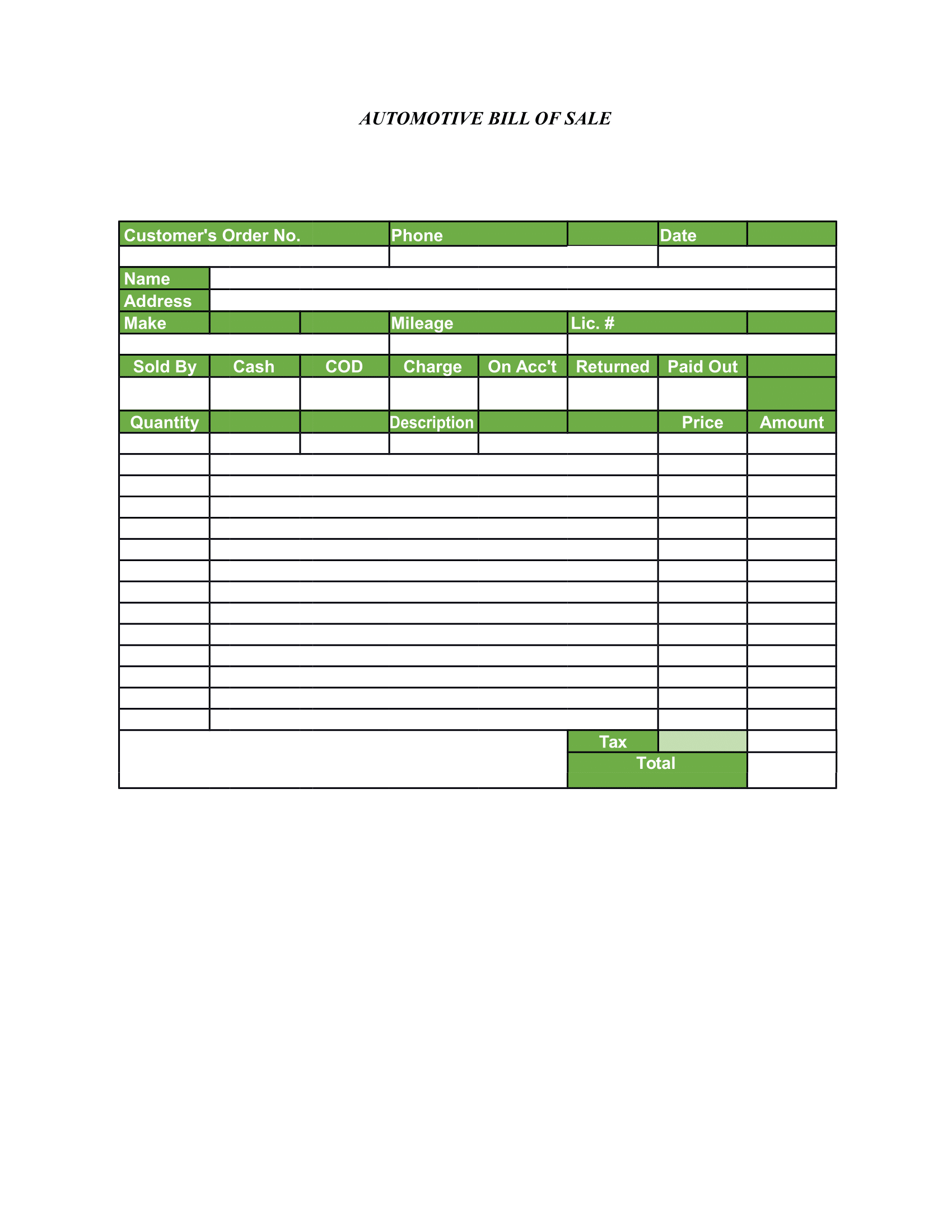 bill of sale form free printable