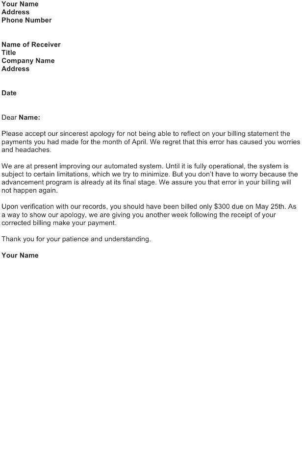 Billing Error Apology Letter