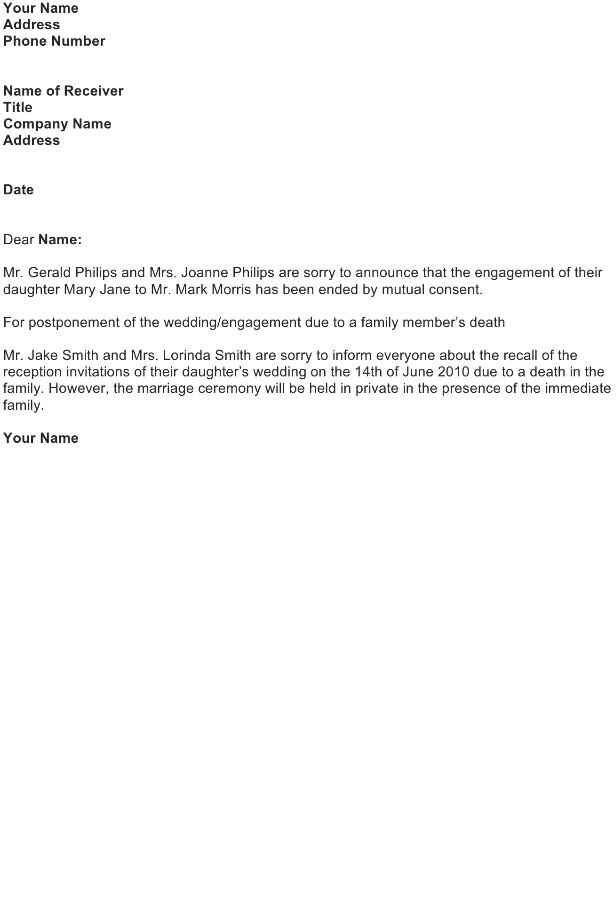 Broken Engagement Announcement Letter