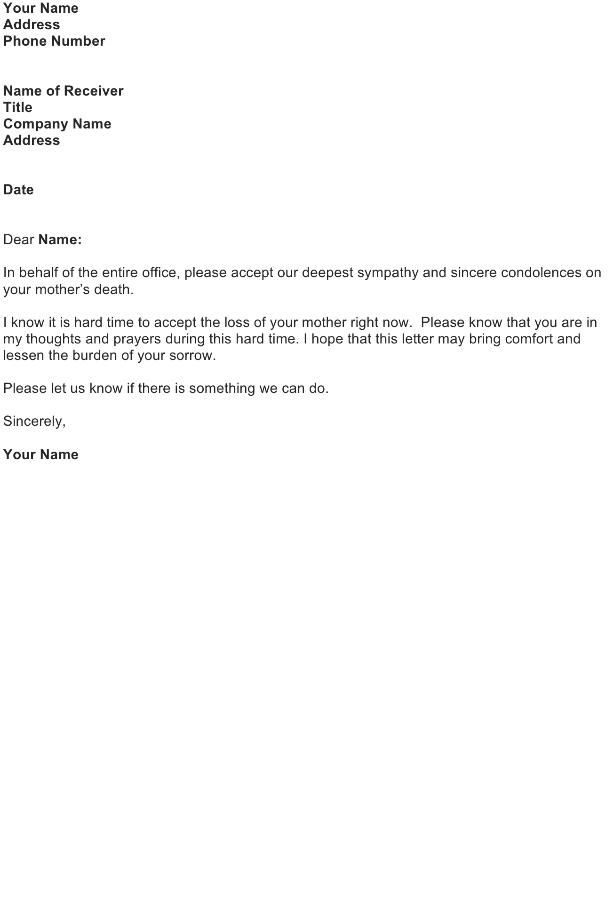 Business Sympathy Letter Sample