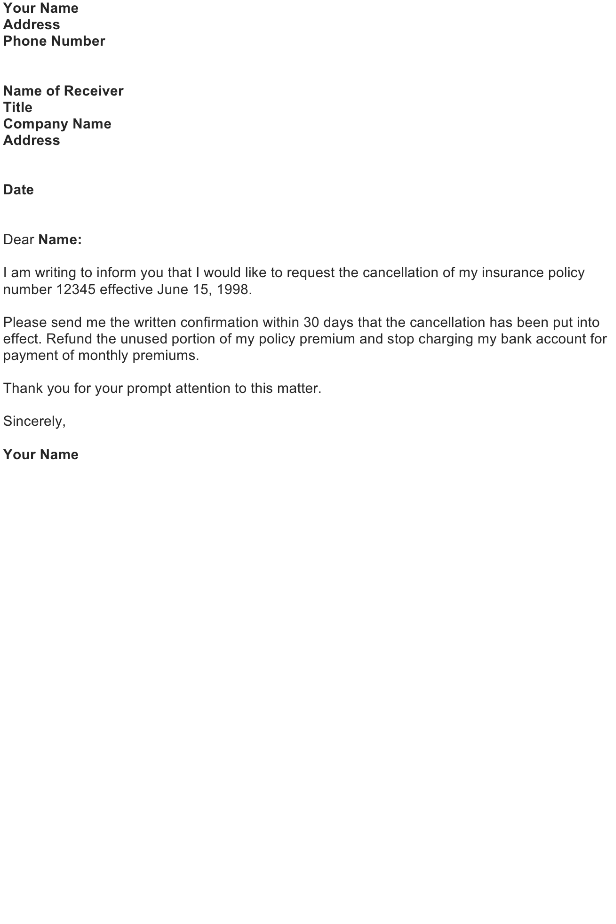 cancellation-of-insurance-policy-sample-letter Insurance Refund Letter Template on resume cover, sample authorization, policy cancellation, agent record, agent sales, company appeal, employeer cancellation, claim denial, claim complaint,