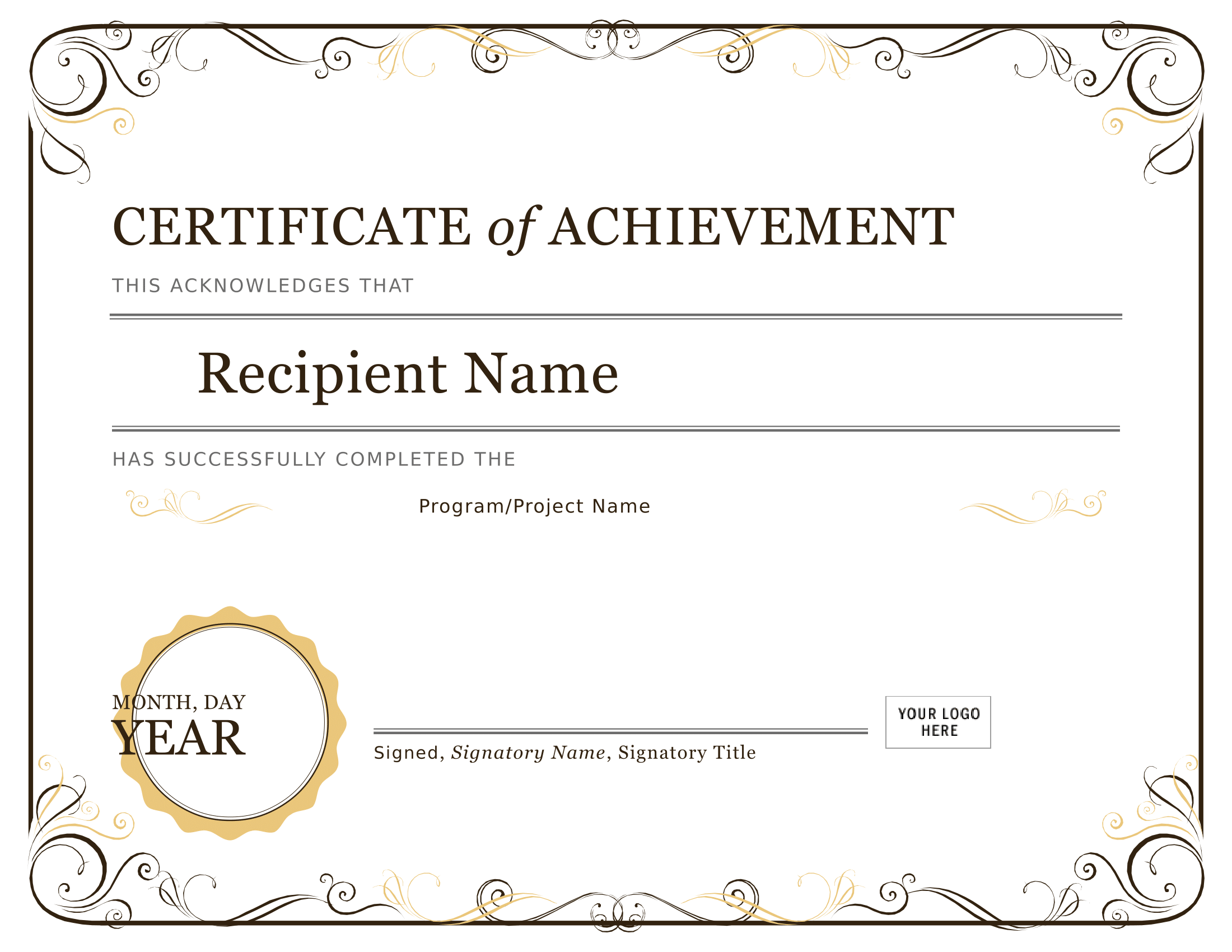 certificate of achievement template free - certificates download free business letter templates