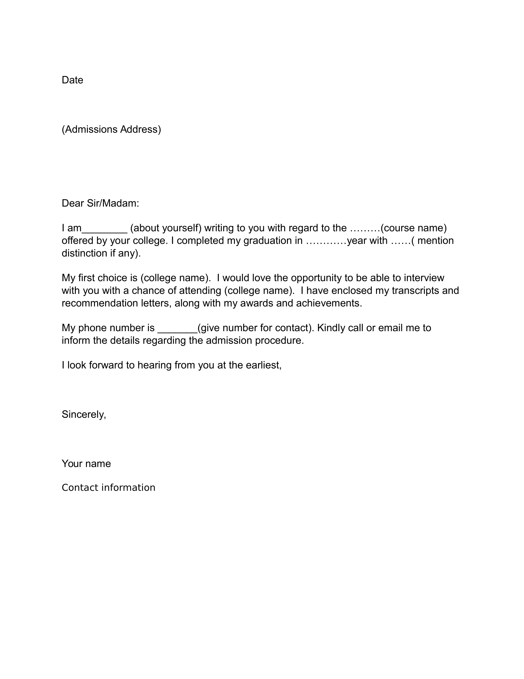 Job Application Letter Sample Download Free Business Letter