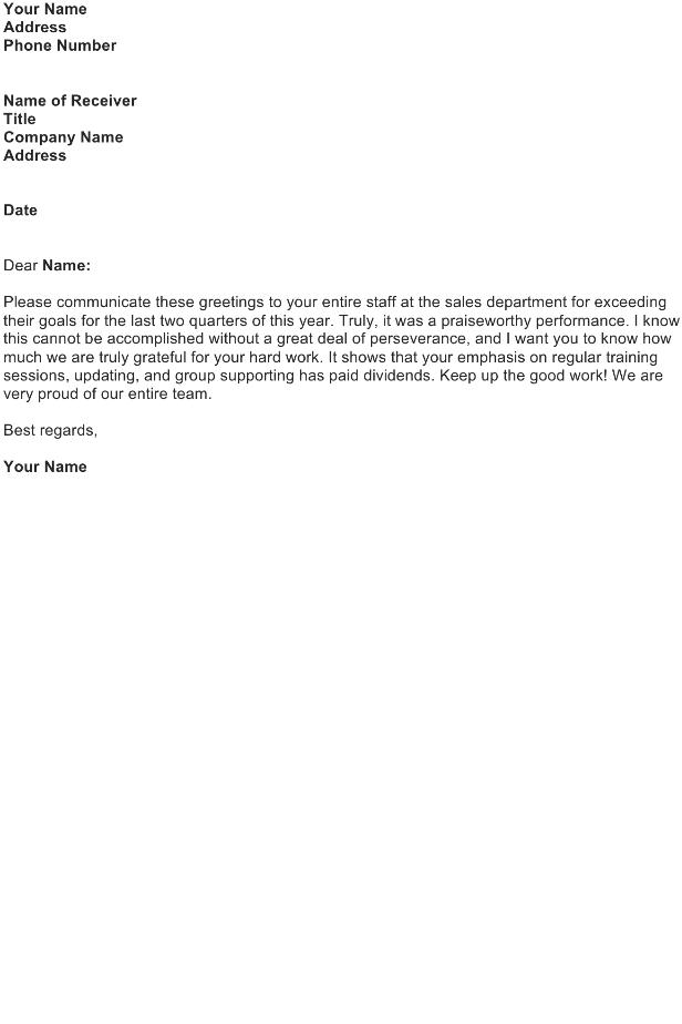 Compliment a Sales Department